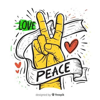 Mão, desenhado, sinal paz, mão