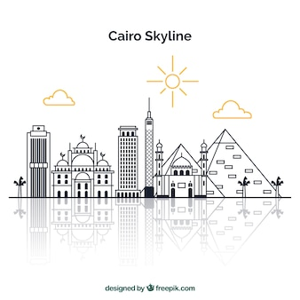 Mão, desenhado, skyline, de, cairo, egito