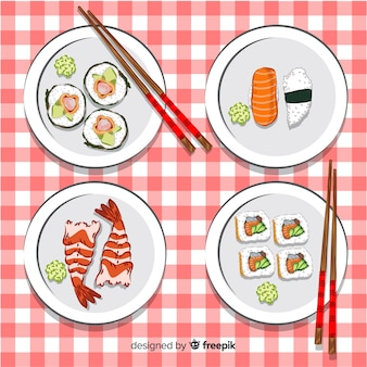 Mão, desenhado, sushi, cobrança