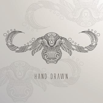 Mão, desenhado, touro, cabeça