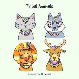 Mão, desenhado, tribal, animais, cobrança