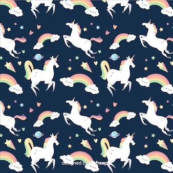 Mão, desenhado, unicorn, padrão, fundo