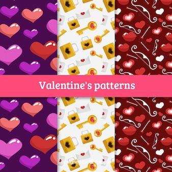 Mão, desenhado, valentine, padrão, cobrança Vetor grátis