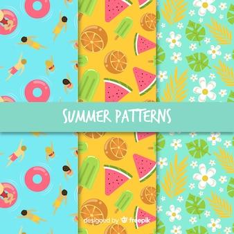 Mão, desenhado, verão, elementos, padrão, cobrança