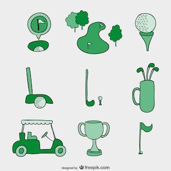 Mão, desenhado, vetores de golfe