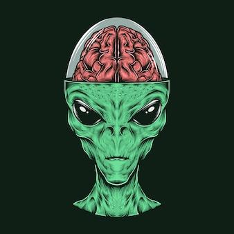 Mão desenhando a cabeça alienígena vintage com ilustração vetorial de cérebro