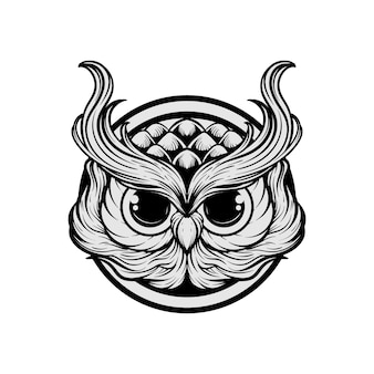 Mão desenhando a ilustração da cabeça da coruja