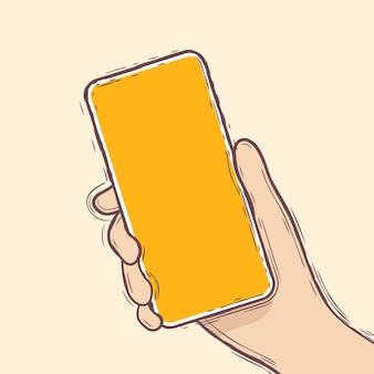 Mão desenhando a mão direita humana usando ou segurando o smartphone. vetor de estilo linha doodle.