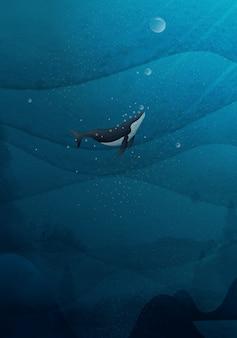 Mão desenhando baleias azuis nadando no oceano.