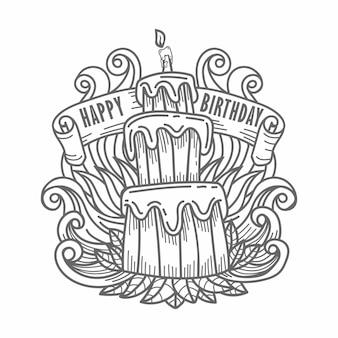 Mão desenhando bolo feliz aniversário com saudação