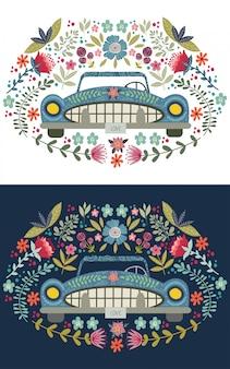 Mão desenhando carro bonito dos desenhos animados com elementos florais e padrões. doodle plana