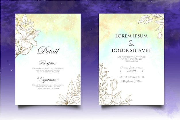 Mão desenhando cartão de convite de casamento floral