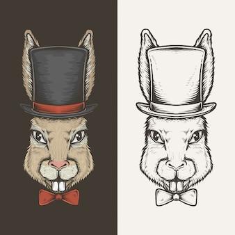 Mão desenhando coelho vintage com ilustração vetorial de cartola