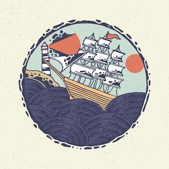 Mão desenhando com arte de linha áspera, navio no mar.