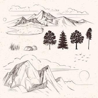 Mão desenhando cordilheira, picos de nuvens