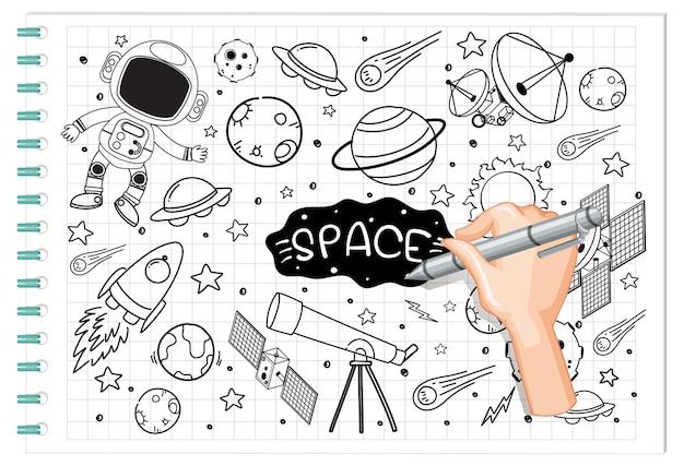 Mão desenhando elemento de espaço em estilo doodle ou esboço no papel