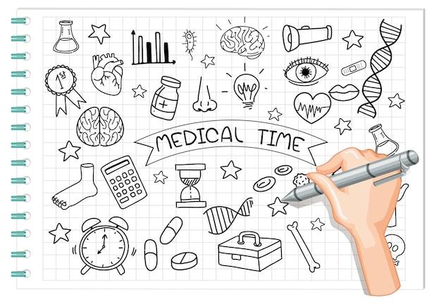 Mão desenhando elemento médico em estilo doodle ou esboço no caderno