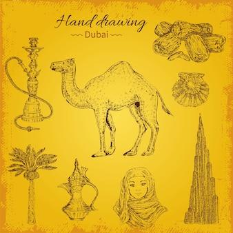 Mão desenhando elementos de dubai