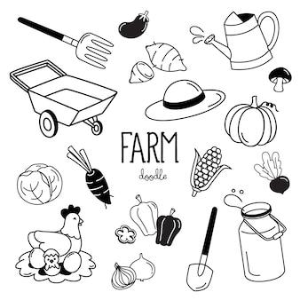 Mão desenhando estilos com itens de fazenda. doodle de fazenda.
