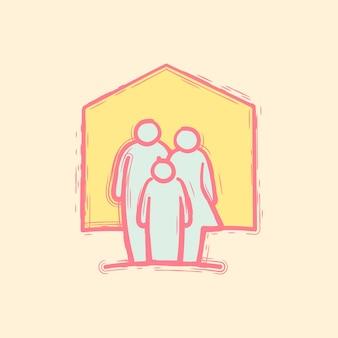 Mão desenhando família dentro do ícone de doodle de casa.