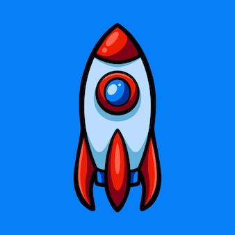 Mão desenhando foguete com estilo cartoon