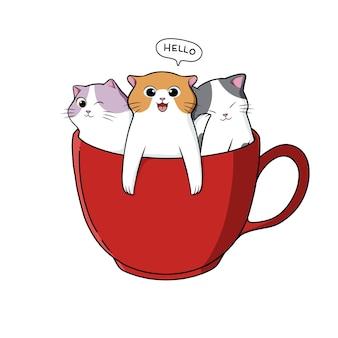 Mão desenhando gatos bonitos em uma xícara de chá
