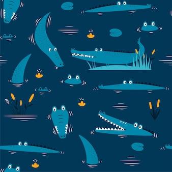 Mão desenhando ilustração em vetor padrão sem emenda de crocodilo fofo para o design da camiseta