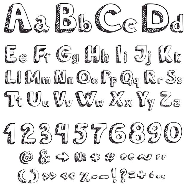 Mão desenhando letras vetoriais