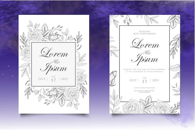 Mão desenhando modelo de convite de casamento floral