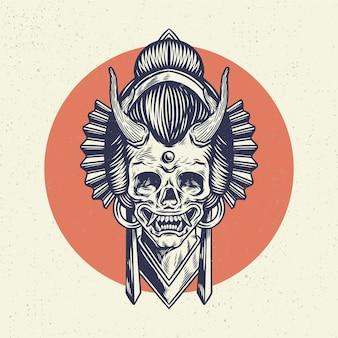Mão desenhando o crânio do esqueleto da ilustração, o conceito da cabeça do crânio com o estilo tradicional do japão.