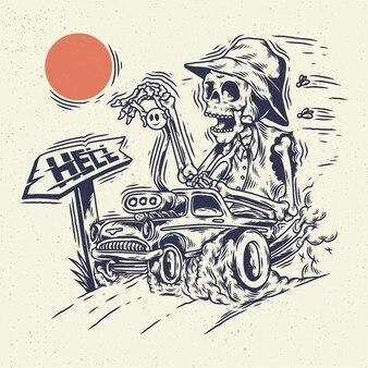 Mão desenhando o crânio do esqueleto da ilustração, o conceito do esqueleto andando no carro hot rod.