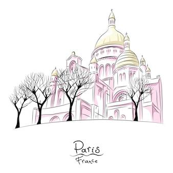 Mão desenhando o esboço da paisagem urbana com a basílica do sagrado coração de paris, frança