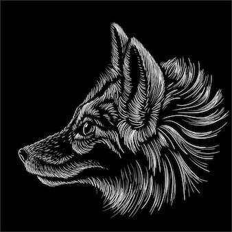 Mão desenhando o perfil da cabeça de lobo ou cachorro