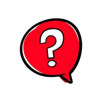 Mão desenhando o símbolo de sinal de interrogação em um vetor de ícone de bolha de discurso vermelho.