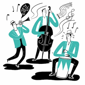 Mão desenhando os músicos tocando música