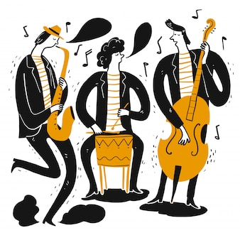Mão desenhando os músicos tocando música.