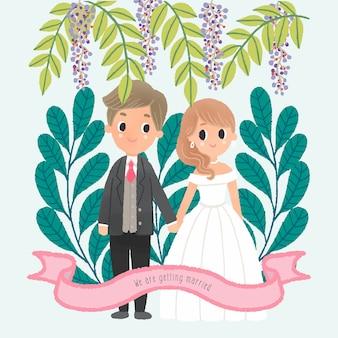 Mão, desenhando, par casamento, personagem, ficar, lado a lado, folhas, quadro fundo