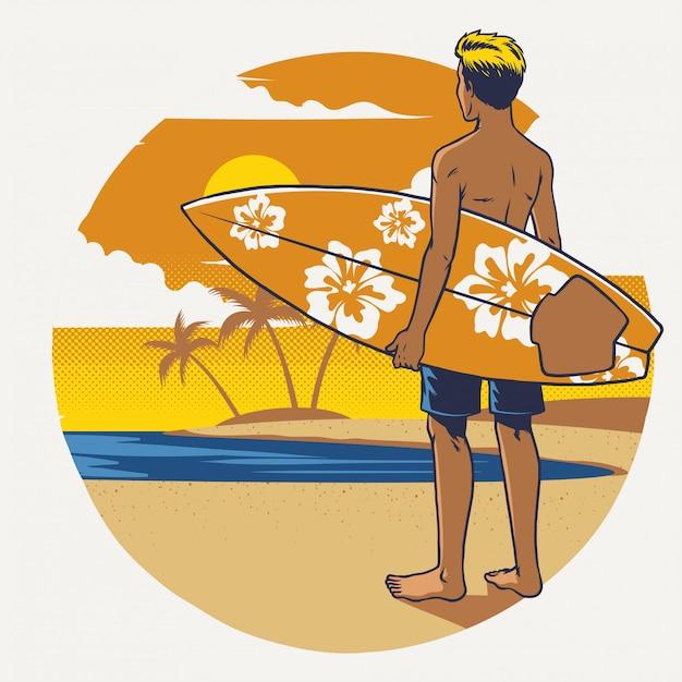 Mão desenhando surfista com a prancha de surf