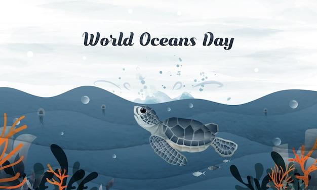 Mão desenhando tartaruga salta para o céu no dia mundial do oceano.