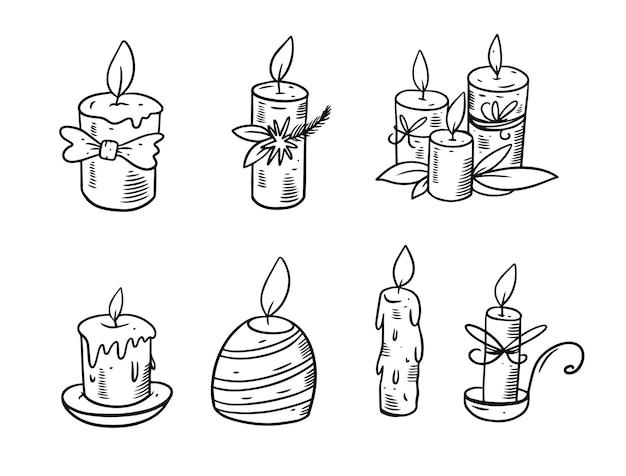 Mão desenhando velas conjunto ilustração