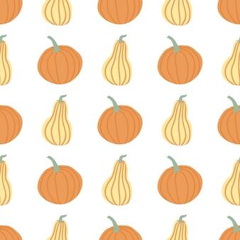 Mão desenhar abóbora padrão sem emenda em simples estilo doodle fundo de vetor abóboras na cor pastel de diferentes formas isoladas no fundo branco. modelo para halloween, ação de graças, colheita
