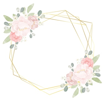Mão desenhar aquarela rosas cor de rosa e peônia com moldura geométrica dourada