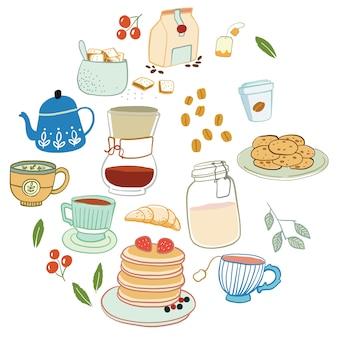 Mão desenhar café e chá