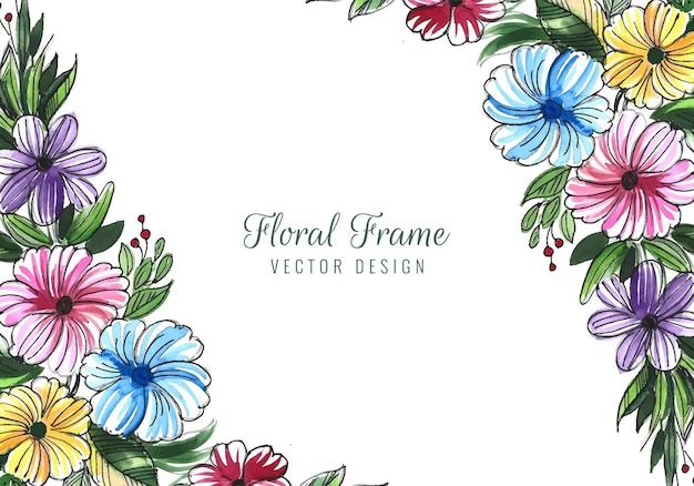 Mão desenhar cartão de casamento decorativo fundo de flores coloridas
