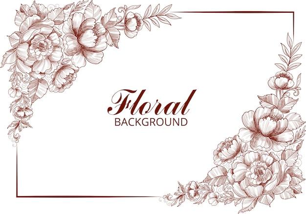 Mão desenhar cartão floral botânico em branco