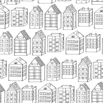 Mão desenhar casas de cidade sem costura de fundo