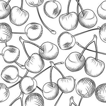 Mão desenhar cerejas padrão sem emenda sobre um fundo branco