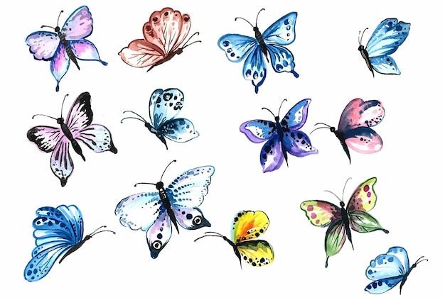 Mão desenhar coleção de lindas borboletas coloridas em aquarela