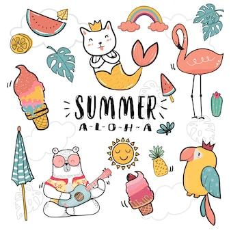 Mão desenhar coleção de verão bonito ícone doodle