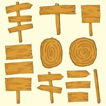 Mão desenhar comprimidos de madeira
